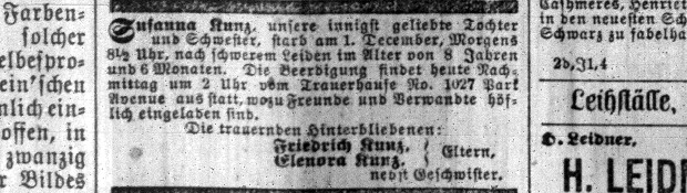 kunz susanna death notice
