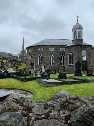 The Presbyterian church with the Church of Ireland behind